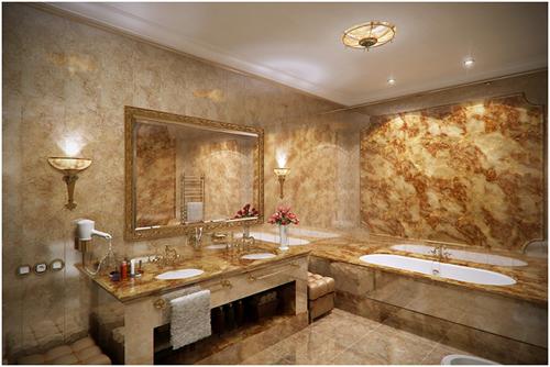 Phòng vệ sinh thuộc căn hộ mang phong cách nội thất cổ điển sang trọng